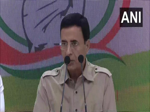 Congress chief spokesperson Randeep Singh Surjewala addressing media persons in New Delhi on Sunday. Photo/ANI