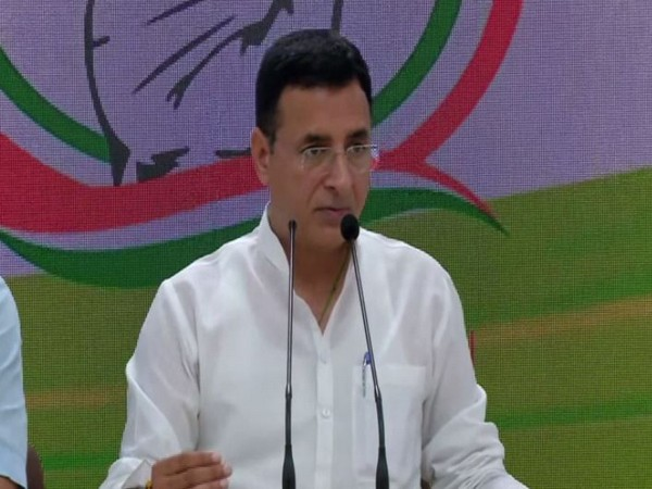 Congress leader Randeep Singh Surjewala addressing a press conference in New Delhi on Thursday.  Photo/ANI