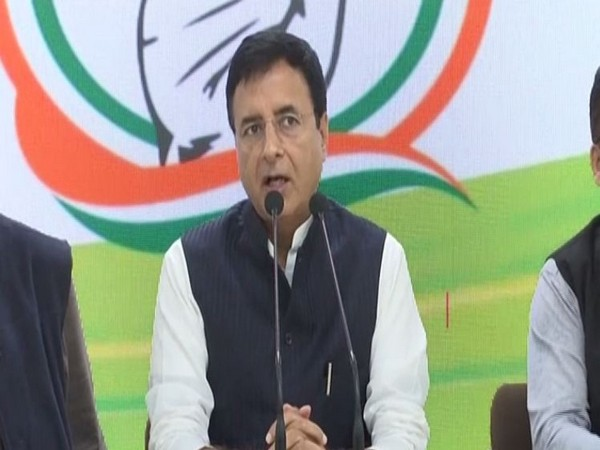 Congress national spokesperson Randeep Singh Surjewala speaking at a press conference in New Delhi on Saturday. Photo/ANI