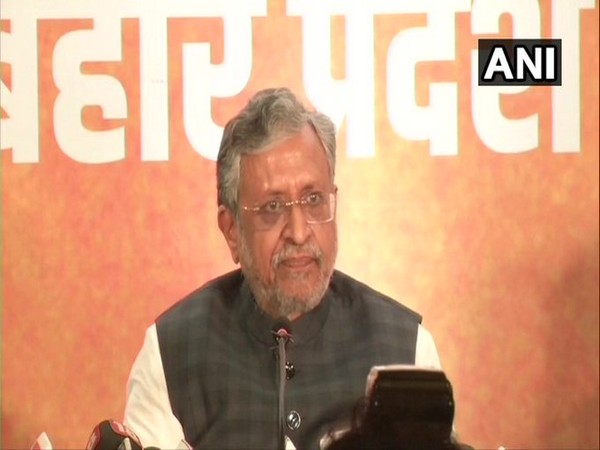 Bihar Deputy CM Sushil Kumar Modi speaking at a press conference in Patna. [Photo/ANI]