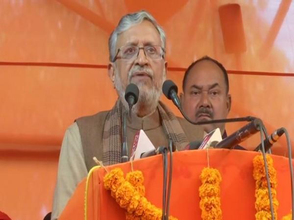 Bihar Chief Minister Sushil Kumar Modi addressing a gathering in Patna on Friday. Photo/ANI