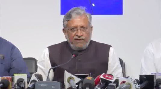 Bihar Deputy Chief Minister Sushil Modi addressing  media briefing in Patna on Wednesday