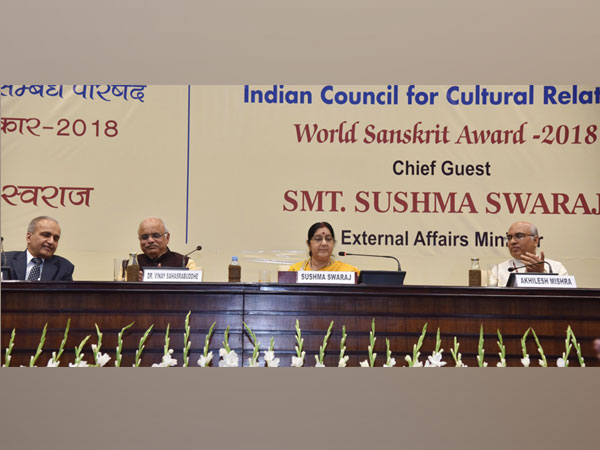 Sushma Swaraj at World Sanskrit Award 2018 in New Delhi on Thursday.