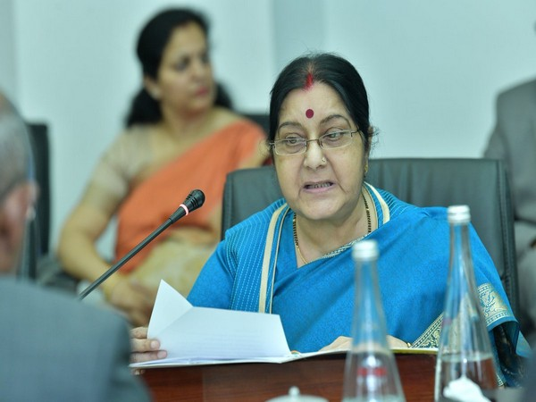 External Affairs Minister Sushma Swaraj during the joint ministerial meeting in Male, Maldives, on Sunday.