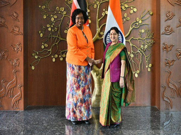External Affairs Minister Sushma Swaraj and her Kenyan counterpart Monica Juma in New Delhi on Tuesday. (CREDITS: MEA TWITTER)