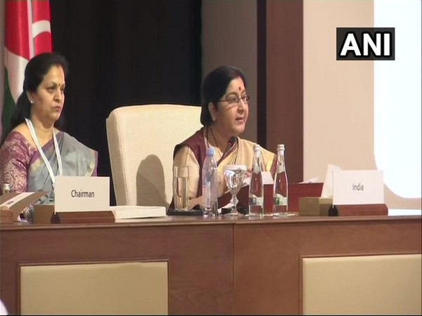 External Affairs Minister Sushma Swaraj addressing the plenary session of OIC meet in Abu Dhabi on Friday.