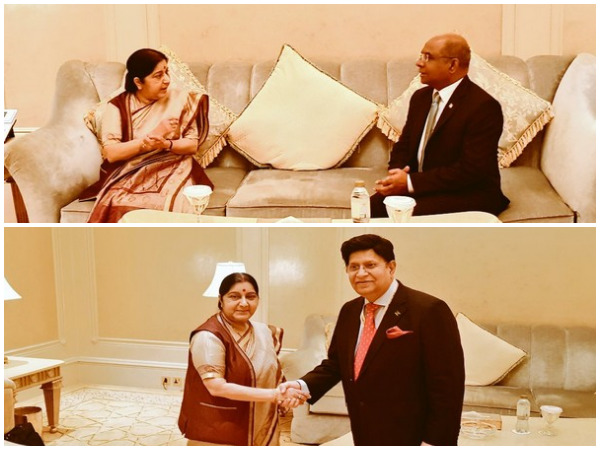 External Affairs Minister Sushma Swaraj meets her Maldives' and Bangladesh counterparts, Abdulla Shahid and Dr AK Abdul Momen in Abu Dhabi on Friday. (CREDITS: MEA Twitter)
