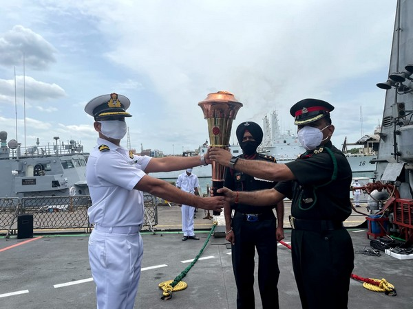 INS Sumedha embarked on with Swarnim Vijay Varsh Victory Flame to Port Blair (Twitter/Indian Navy)