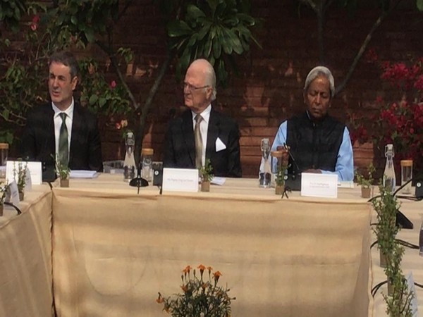 Swedish Minister for Business Industry and Innovation Ibrahim Baylan (L) addressing a round table dialogue in New Delhi on Tuesday