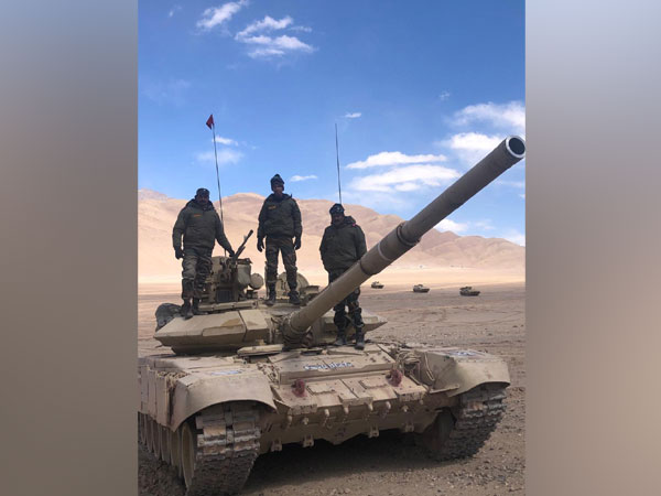 Indian Army T-90 tank deployed near the LAC in Chumar-Demchok area in Eastern Ladakh. [Photo/ANI]