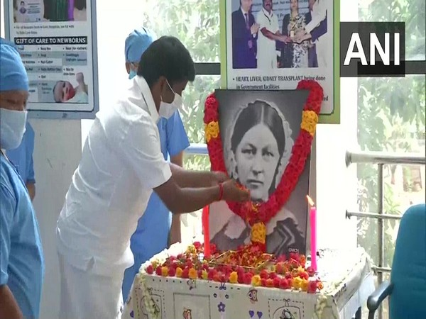 Nurses paid their respects to Florence Nightingale on the International Nurses Day in Chennai on Tuesday.       Photo/ANI