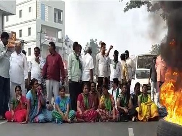 Visuals from the protest in Krishna.