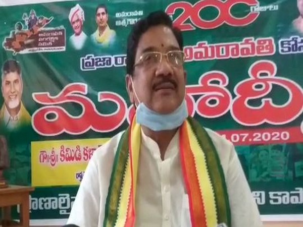 Telugu Desam Party (TDP) Andhra Pradesh unit president Kimidi Kala Venkata Rao talking to reporters.