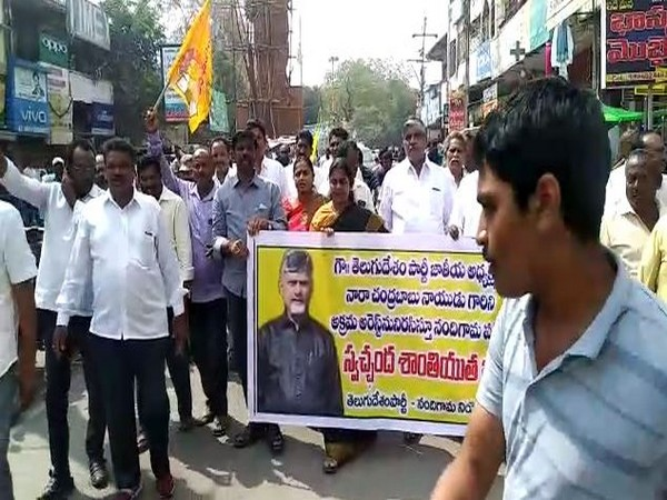 TDP workers protesting against party chief N Chandrababu Naidu's preventive detention in Nandigama town on Friday. Photo/ANI