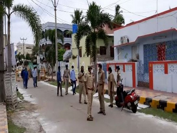 Visuals of the police outside the YSR Congress Party leader Moka Bhaskar Rao's house in Krishna district, Andhra Pradesh on Friday. (Photo/ANI)