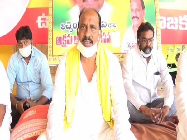 Telugu Desam Party leader and former MLA G Veeranjaneyulu held a protest on Saturday in Bhimadole. (Photo/ANI)