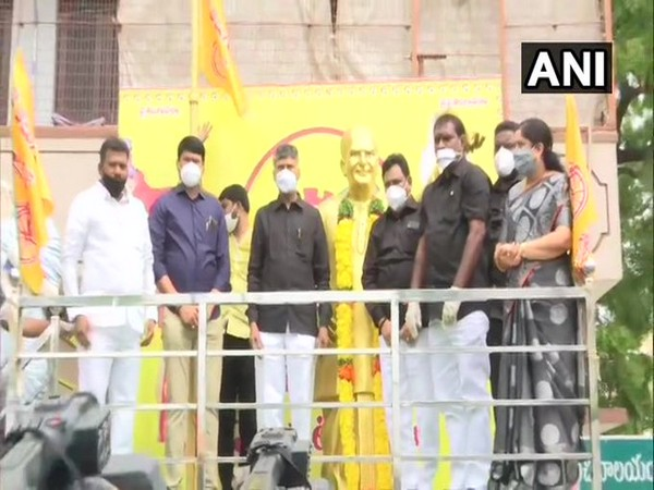 N Chandrababu Naidu other leaders paid tribute to party founder NTR on Tuesday. Photo/ANI