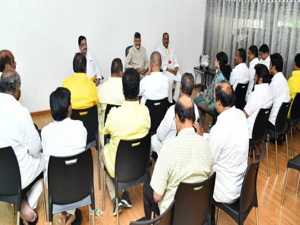 Former Andhra Pradesh CM N Chandrababu Naidu holding a meeting on Tuesday. Photo/ANI