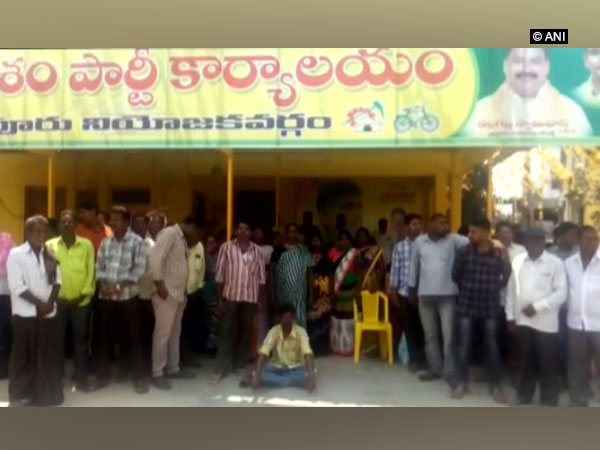 TDP party workers protest in Tiruvuru assembly constituency, Andhra Pradesh on Thursday.