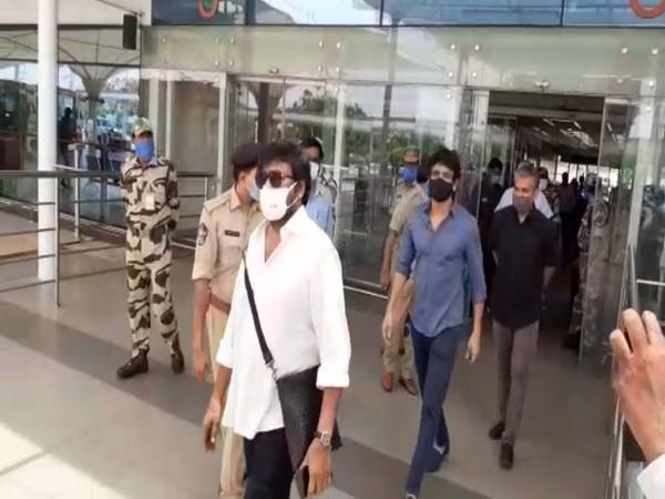 Chiranjeevi, Nagarjuna, and other TFI stars arrived at Gannavaram airport this noon to meet Andhra Pradesh CM YS Jagan Mohan Reddy at 3 pm on Tuesday. Photo/ANI