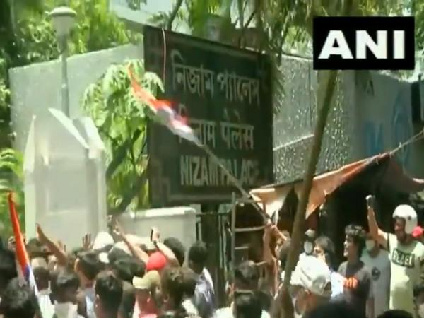 TMC supporters protesting outside CBI office in Kolkata. (Photo/ANI)