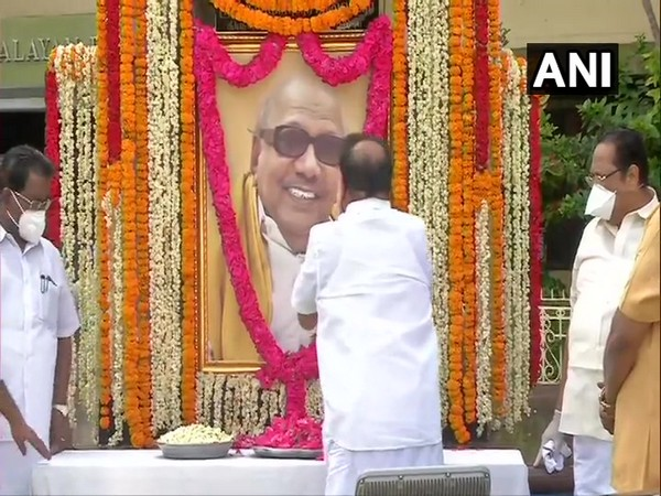 DMK president MK Stalin while paying floral tribute to former Tamil Nadu Chief Minister M Karunanidhi on his 97th birth anniversary. (Photo/ANI)