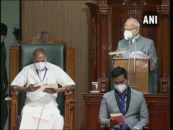 Tamil Nadu Governor Banwarilal Purohit speaking in Tamil Nadu Assembly. (Photo/ANI)