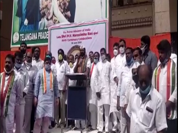 TPCC president and Member of Parliament Captain Uttam delivers speech on the occasion of birth anniversary of PV Narsimha Rao in Hyderabad on Sunday. Photo/ANI