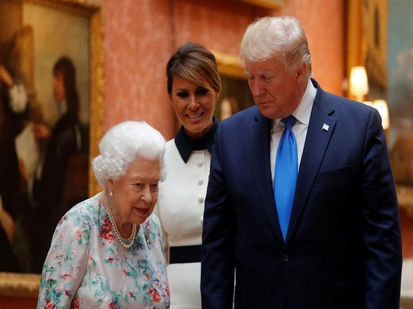 U.S. President Donald Trump, First Lady Melania Trump and Britain's Queen Elizabeth review items from the Royal Collection at Buckingham Palace, in London, Britain on Monday