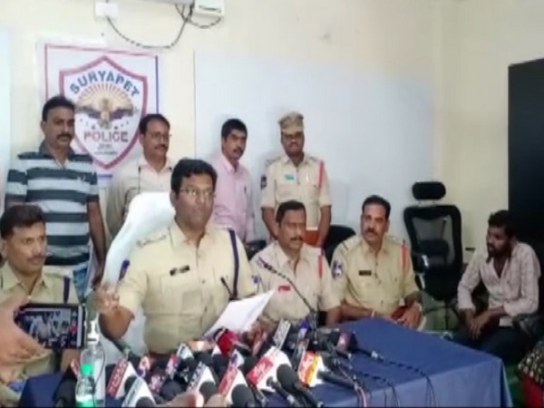 Suryapet SP R Bhaskaran addressing a press conference here on Monday. Photo/ANI