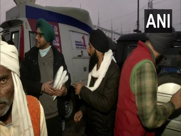 The twin brothers from Punjab at the Delhi-Ghazipur border area on Sunday. (Photo/ANI)