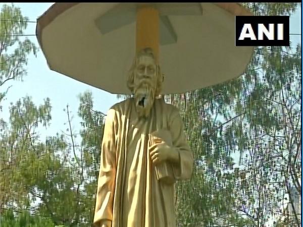 Three miscreants vandalised Rabindranath Tagore's statue on Saturday. Photo/ANI