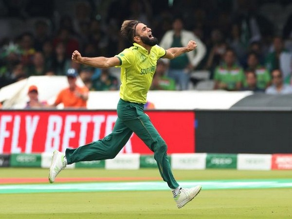 South African spinner Imran Tahir celebrating after taking a wicket