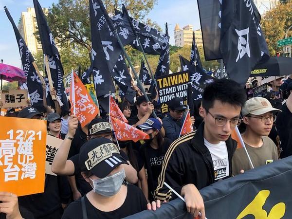 People protesting in Taiwan