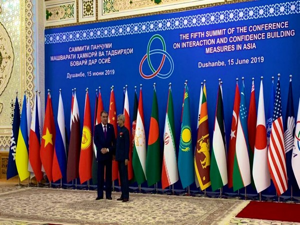 Tajik President Emomali Rahmon welcomes External Affairs Minister S. Jaishankar at the CICA 2019 Summit on Saturday. (Picture Credits: Twitter/ S Jaishankar)