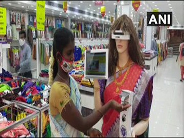 Humanoid robot 'Zafira' ensures COVID precautions at cloth-stores in Tamil Nadu [Photo/ANI]