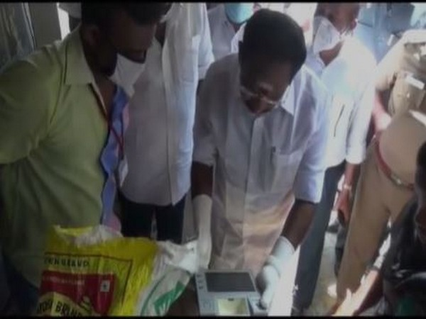 Tamil Nadu Minister Sellur K Raju at a ration shop in Madurai during inspection. Photo/ANI