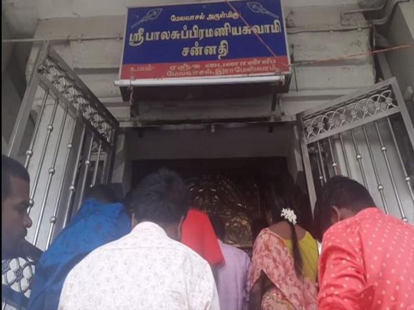 Devotees celebrating the Kanda Shasti Festival in Rameswaram. (Photo ANI)