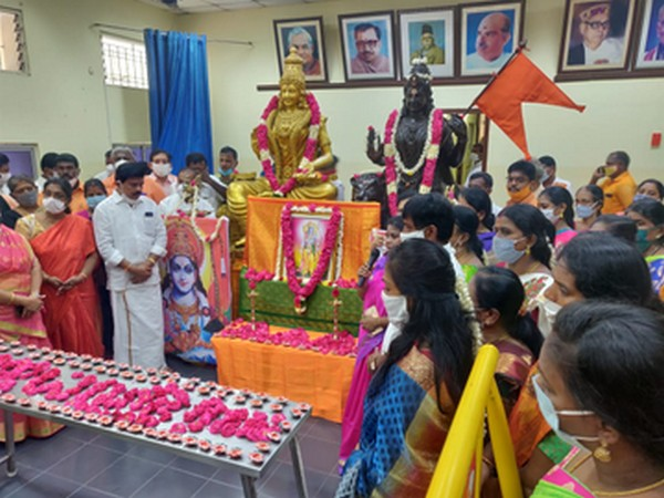 BJP members and workers on Wednesday performed special prayers at the party office here in Kamalalayam. Photo/ANI