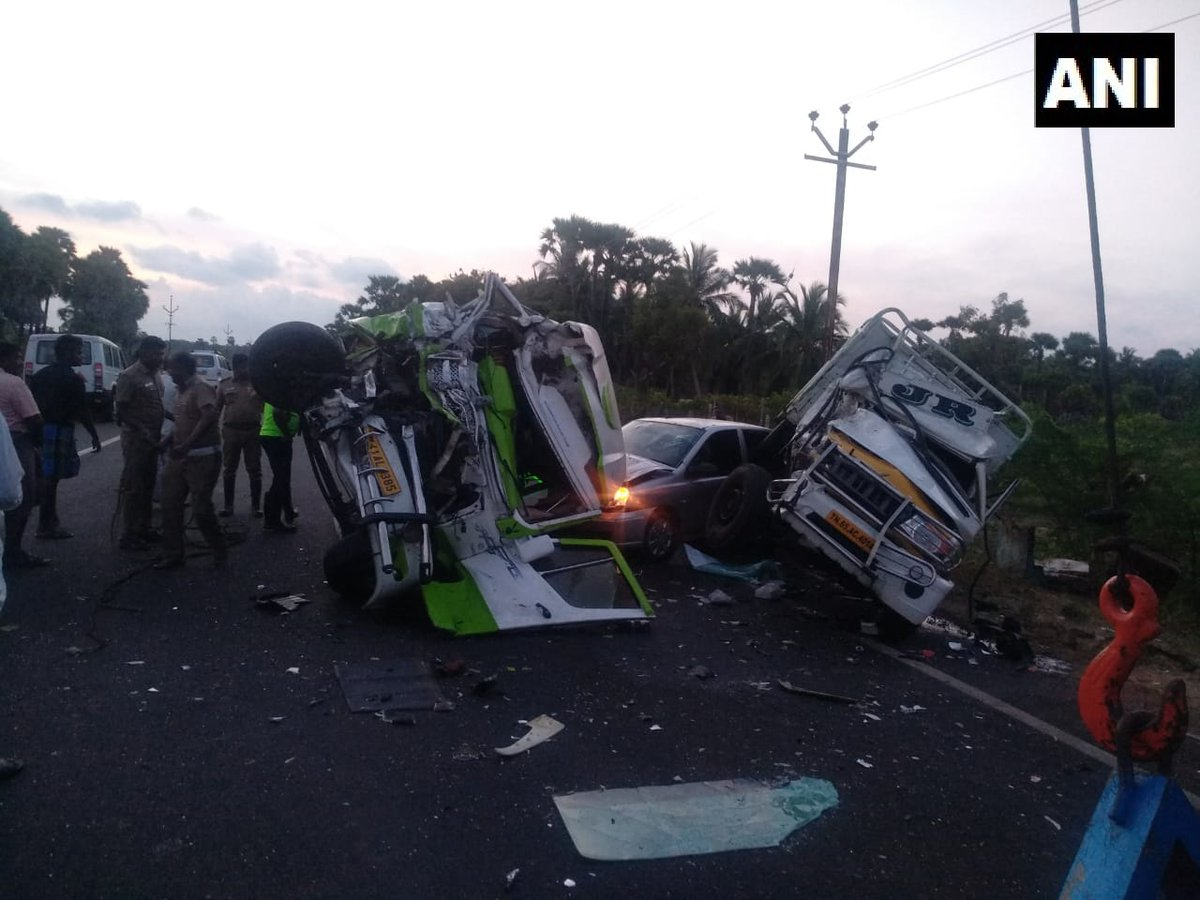 Police authorities at the spot where three vehicles collided near Uchipuli in Tamil Nadu's Ramanathapuram district on Tuesday morning.