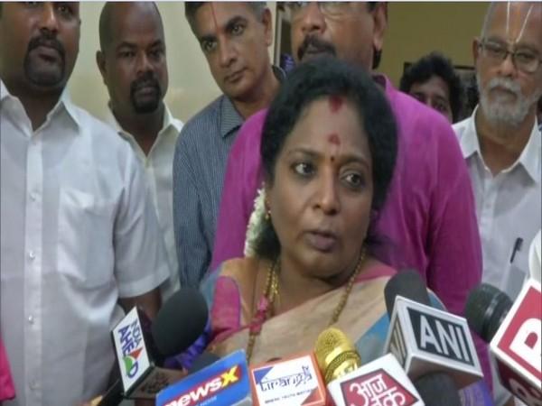 TN BJP president Tamilisai Soundararajan speaking to media in Chennai on Thursday (Photo/ANI)