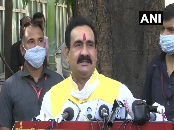 Madhya Pradesh Home Minister Narottam Mishra speaking to reporters in Bhopal on Thursday. (Photo/ANI)