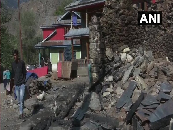 Visuals of damaged houses due to shelling in Tangdhar sector of Kupwara district in Jammu and Kashmir.