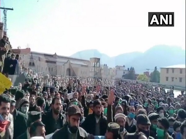 PoK teachers protesting salary hike in  Muzaffarabad (ANI)