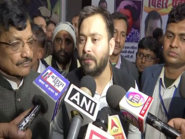 RJD leader Tejashwi Yadav speaking to reporters in Patna on Wednesday. Photo/ANI