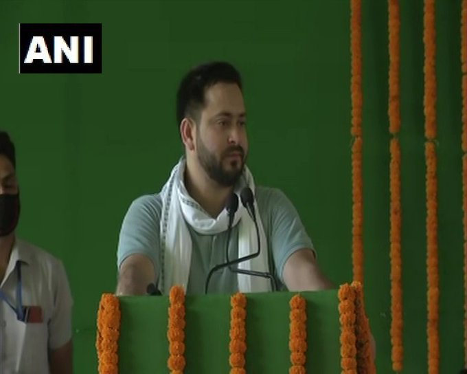 RJD leader Tejashwi Yadav speaking at the party function in Patna on Sunday. Photo/ANI