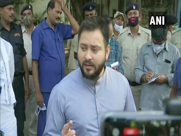 RJD leader Tejashwi Yadav speaking to reporters in Patna on Thursday. Photo/ANI