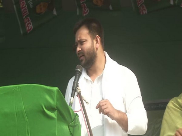 RJD leader Tejashwi Yadav speaking at an election rally in Saharsa on Thursday. [Photo/ANI]