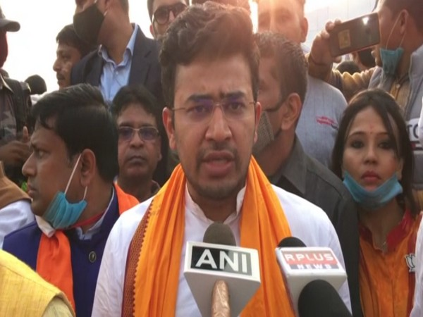 BJP MP and BJYM national president Tejasvi Surya speaking to reporters in Siliguri on Monday [Photo/ANI]