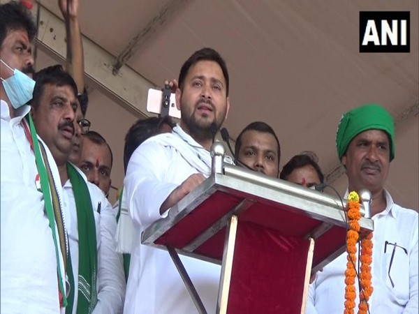 RJD leader Tejashwi Yadav speaking at the election rally in Gaya on Sunday. Photo/ANI